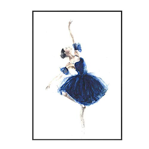 Ballet Art Deco Modern Framed Wall Art Decor Canvas Print Women Dancing Painting Picture Contemporary Artwork Wall Decoration Included Framed (12X16 Inch, A)