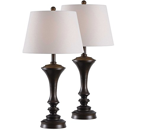 Isabella KH80426 2-Pack Table Lamp 29 Inch Height, 15 Inch Diameter Brushed Copper Bronze 2 Piece