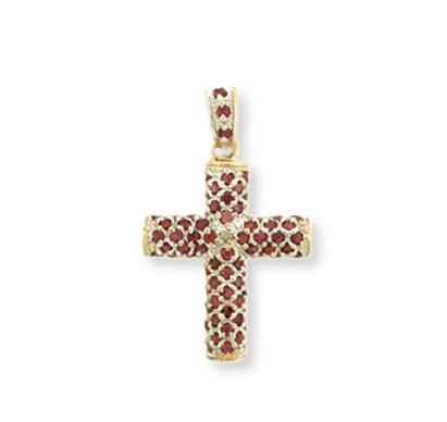 Petits Merveilles D'amour - 14 ct Or Jaune 585/1000 Rubis Croix Pendentif