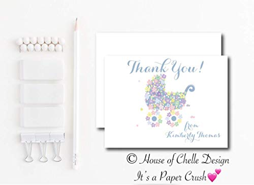 Personalized Baby Shower Thank You Cards - Baby Shower Thank You Notes - Set of 12 with Envelopes - FLORAL BABY CARRIAGE BLUE
