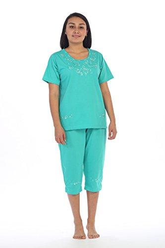 UNIK Women's Short Sleeve Embrodiered Butterflies Blouse and Matching Capri Set, Mint Size Medium (Butterfly Mint Set)