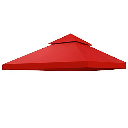 Yaheetech Gazebo Canopy Replacement Patio Garden Outdoor Top Cover 12'x 12' (Red)