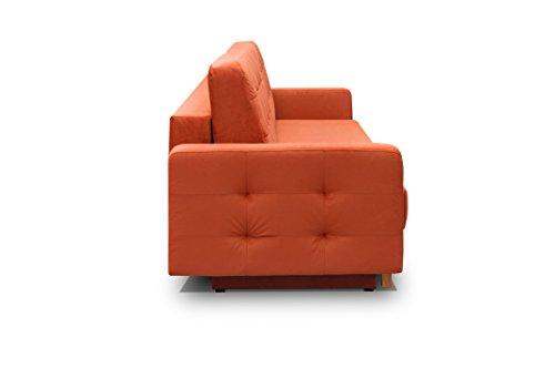 Vegas Futon Sofa Bed, Queen Sleeper with Storage Orange