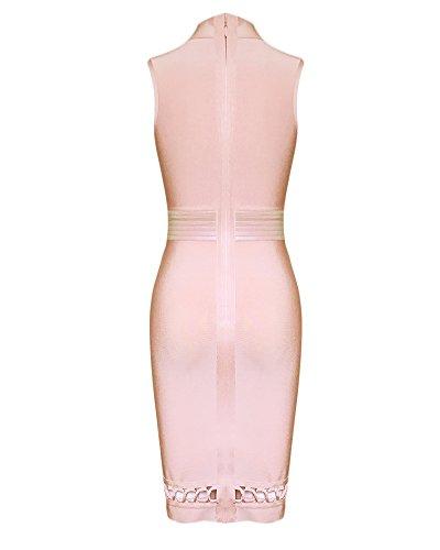 Party Femme Midi Bandage Dress Up Rose Whoinshop Neck Lace Clubwear Haut Front 8cqwSzd