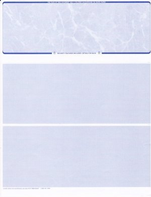 Blank Paper Checks - Check At Top - Blue Marble - 50 Sheets, Bank Check Ordering Made Easy.