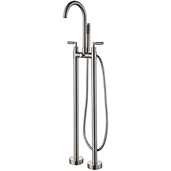 JiaYouJia Clawfoot Floor Mounted Tub Filler Faucet With Metal Handles And  Built In Diverter