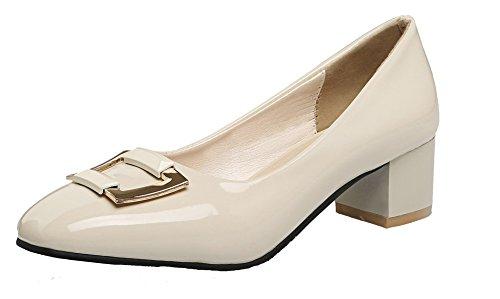Damen Blend-Materialien Quadratisch Zehe Mittler Absatz Rein Pumps Schuhe, Aprikosen Farbe, 41 VogueZone009