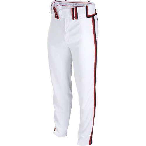 Boy's Rawlings Sporting Goods Boys Youth Semi-Relaxed Pant with Braid, White/Scarlet/Black, (Scarlet Baseball Pants)