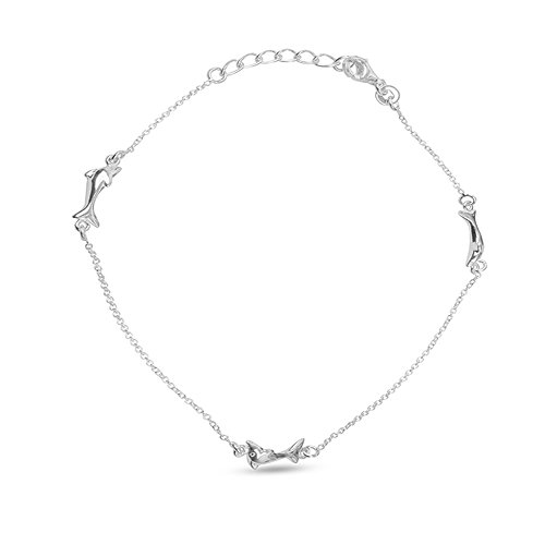 LeCalla Women's Sterling Silver Jewelry Dolphin Sea Fish Adjustable Size Anklet (Silver Sterling Fish Life)