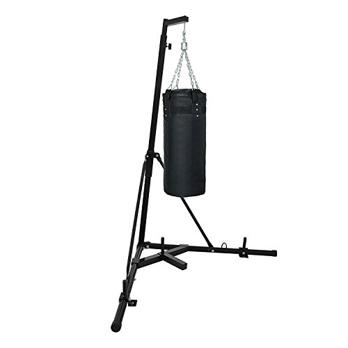 FORAVER Punch Bag Stand Free Standing 60kg/132lbs Foldable Heavy Duty Boxing Bag Stand Height Adjustable Portable Hanging Boxing Kickboxing Punching Bag Station Bracket Frame Rack Stand (without bag)