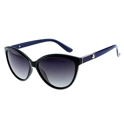 Shades Classic Oversized Polarized Sunglasses for Women 100% UV Protection (BLUE, ()