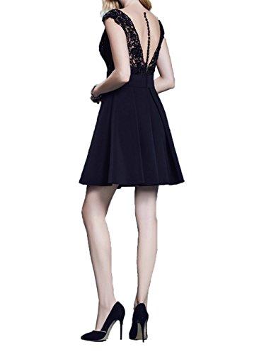 Ballkleider A Blau Damen Linie Mini Rock Festlichkleider Abendkleider Dunkel Royal Spitze Kurzes Charmant Cocktailkleider Promkleider qZwITIcU