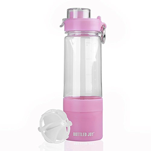 BOTTLED JOY Water Bottle, Protein Shaker Bottle with 2-Layer Twist and Lock Storage, 100% BPA-Free Leak Proof Shaker Cup for Women and Fitness Sports Non-Slip Mix Drinking Bottle 480ml 16oz (Pink)