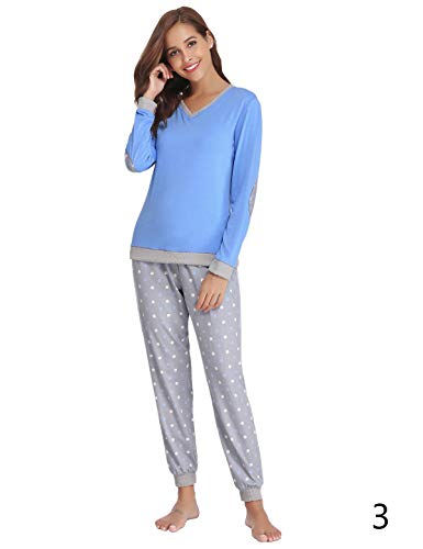 (Abollria Women Cotton Pajama Set Henley Top with Plaid Pants Long Sleeve Loungewear Set Sleepwear (Blue-3, XX-Large))