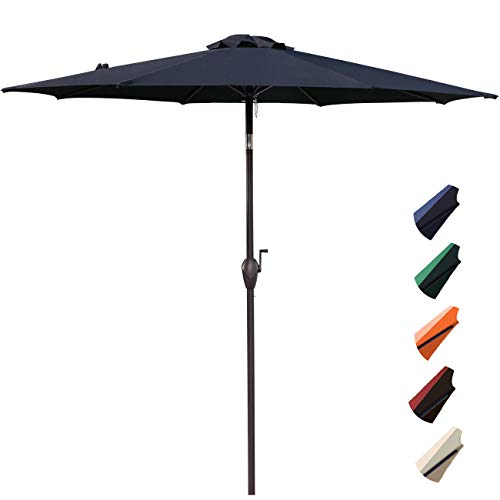 RUBEDER 9' Patio Umbrella Outdoor Market Table Umbrella with 8 Sturdy Ribs,Wing Vent,Push Button Tilt & Crank (9 Ft, Navy 2)