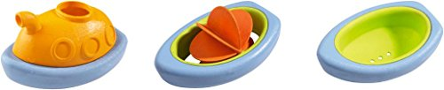 HABA Boating Set - 3 Sturdy Plastic Boats to Pour, Strain and Paddle - Great for Beach Bath or Pool