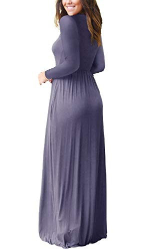 GRECERELLE Women's Long Sleeve Loose Plain Maxi Dresses Casual Long Dresses with Pockets Purple Gray-2XL