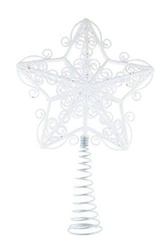 Clever Creations White Star Christmas Tree Topper - Festive Christmas Decor - Sparkling Shatter Resistant Plastic - 8 inch Tall - Perfect for Any Size Christmas Tree (Festive Tree Christmas)