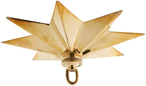 RCH Hardware CN-11-PB Solid Brass Decorative Star Shaped Ceiling Canopy Medallion Accent for Chandeliers and Pendant Lighting with Matching Screw Collar and Loop, Polished