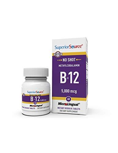 Superior Source No Shot Methylcobalamin B12 Multivitamins, 5000mcg, 60 Count ( Pack May Vary ) (E Source Vitamin Superior)
