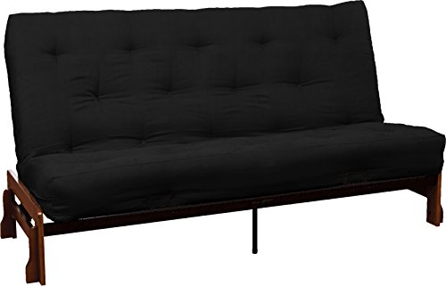Bali True 8-inch Loft Cotton/Foam Futon Sofa Sleeper Bed, Queen-size, Walnut Arm Finish, Microfiber Suede Ebony Black Upholstery - Black Ebony Finish