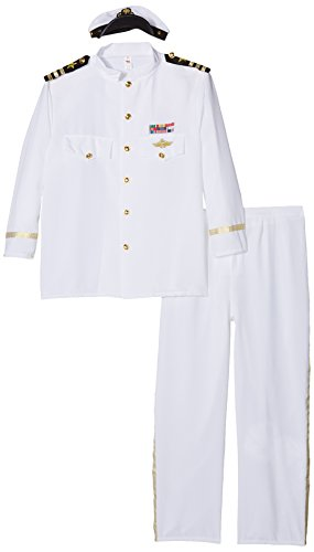 [Smiffy's Men's Captain Deluxe Costume with Jacket Trousers Cap and Gloves, White, X-Large] (Adult Sailor Captain Costumes)