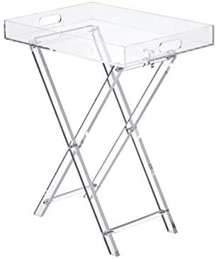 Likenow Furniture Acrylic Tray Table,Foldable,Clear,Modern,19×13 inch,23 inch High