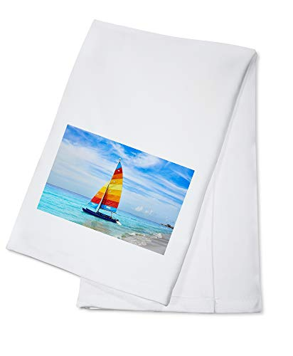 Fort Myers, Florida - Colorful Sailboat on the Beac A-9012137 (100% Cotton Kitchen Towel) (Fort Myers On A Map Of Florida)