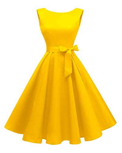 - Hanpceirs Women's Boatneck Sleeveless Swing Vintage 1950s Cocktail Dress Gold M