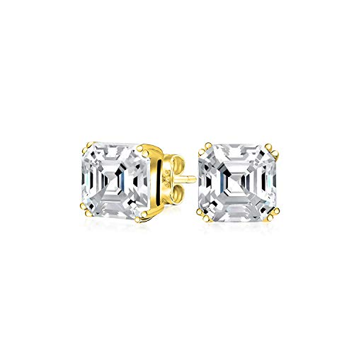 1Ct Cubic Zirconia Solitaire Square Asscher Cut AAA CZ Stud Earrings For Women 14K Gold Plate 925 Sterling Silver