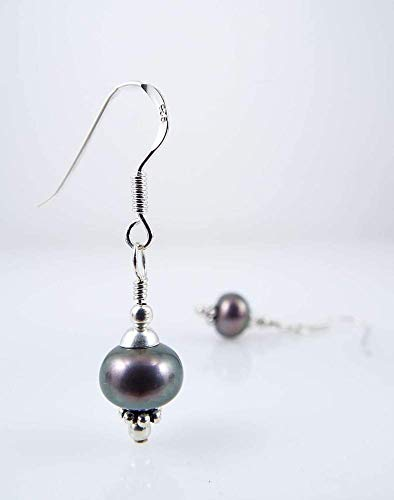 Cultured Freshwater Natural Pearl Dangle Earrings Light Peacock Colored Sterling Silver Ear Wires