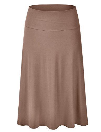 EIMIN Women's Solid Flared Lightweight Elastic Waist Classic Midi Skirt Mocha M ()