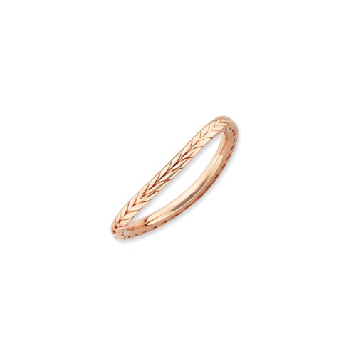 1.5mm Stackable 14K Rose Gold Plated Silver Curved Wheat Band, Size 10 (Ring Wheat Gold)