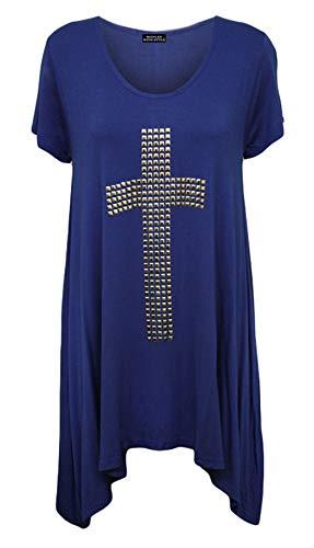 Womens Short Sleeve Cross Stud Sequin Long T Shirt Ladies Hanky Hem Tunic Top#(Blue Short Sleeve Cross Stud Hanky Hem Top #US 16#Womens) ()