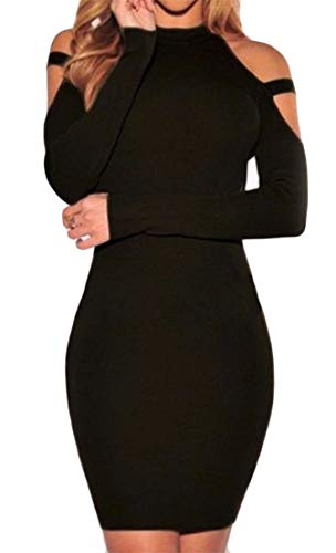 Cromoncent Femmes Manches Longues Pur Licol De Couleur Découpée Épaule Moulante Une Étape De Noir De Robe De Clubwear