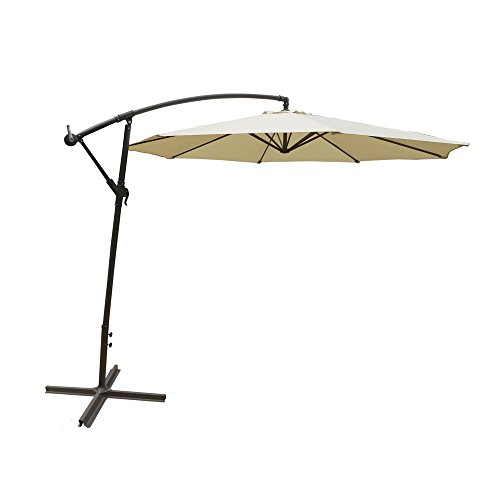 - ALEKO UMB10FTCR Adjustable Outdoor Garden Patio Hanging Umbrella 10 Feet Cream