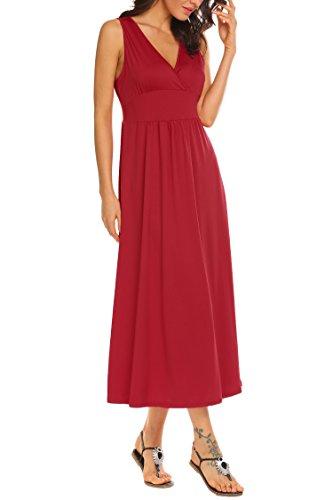 Maxi Neck V Sleeveless Women's Long Ruched Waist Red Funpor Dress aq70OwxZw