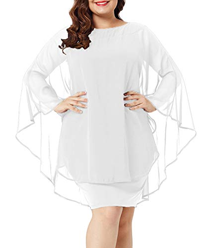 Urchics Womens Casual Chiffon Overlay Plus Size Cocktail Party Knee Length Dress White XL