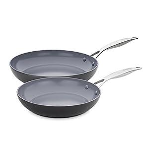GreenPan CC000673-001 Valencia Pro Hard Anodized 100% Toxin-Free Healthy Ceramic Nonstick Metal Utensil/Dishwasher/Oven Safe 10 & 12-Inch Frypan Set, 2-Piece, Grey