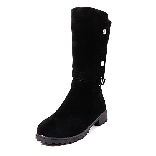 AllhqFashion Womens Low-Heels Solid Round Closed Toe Frosted Pull On Boots Black KAZPvTE