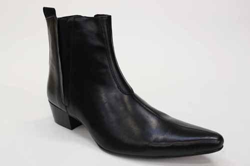 Gucinari - bottines en cuir hommes - chelsea boots - talon cubain - noir