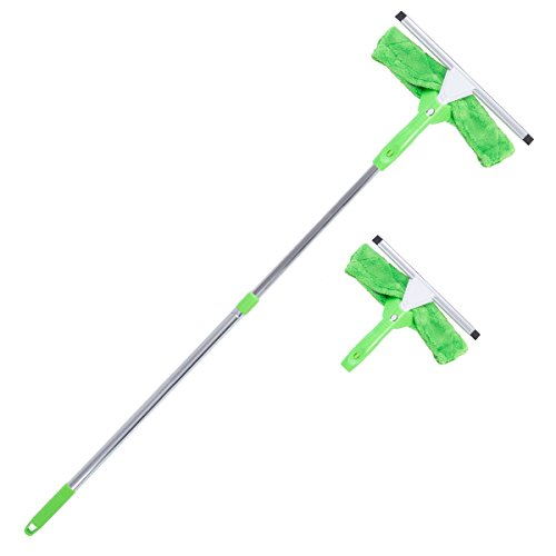 Glass State Piece 3 (Super Squeegee Window Washer – The Original 3 in 1 Professional Window Squeegee Set - 2 Window Squeegees with Microfiber Scrubbers and Extension Pole – for Windows, Glass, and Auto)