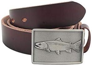 [해외]Solid leather belt with trout belt buckle one piece full grain leather 1.5 wide Johnson Brothers / Johnson Brothers Handcrafted casual trout belt one piece full grain leather 1.5 wide (38)