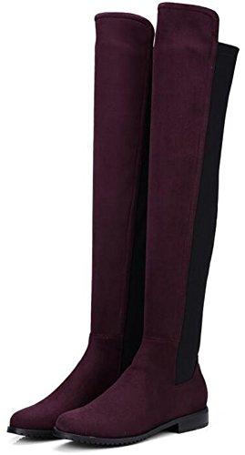 Idifu Kvinna Tillfälliga Rund Tå Låga Chunky Klackar Ovanför Knäet Höga Stövlar Dra På Frostade Ridning Tossor Vinröd