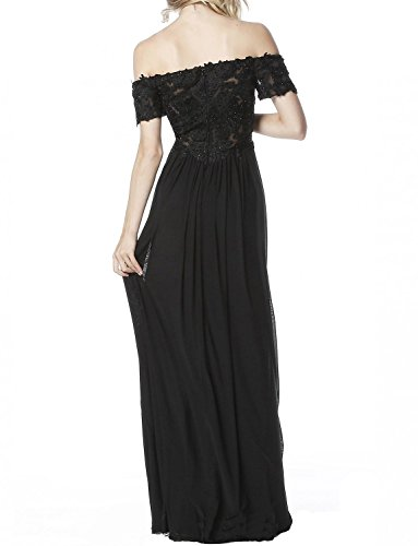 Tulle BP136 Long 2018 Prom Black Shoulder V Women's Off Neck Sleeveless Lace The BessWedding Dresses 1qwTppa