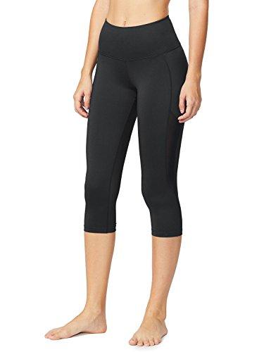 Baleaf Women's High Waist Tummy Control Mesh Yoga Capri Leggings Black Size - Pants Yoga New