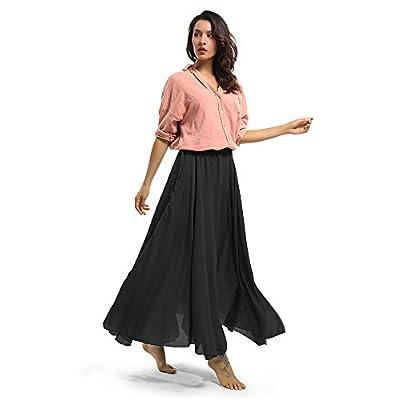 Women's Full Circle Elastic Waist Band Cotton Long Maxi Skirt Dress at Women's Clothing store