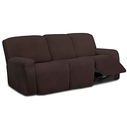 Easy-Going 8 Pieces Microfiber Stretch Sectional Recliner Sofa Slipcover Soft Fitted Fleece 3 Seats Couch Cover…