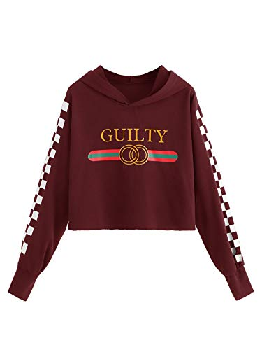 - WDIRARA Women's Plaid Letter Print Pullover Sweatshirt Long Sleeve Crop Hoodie Burgundy M