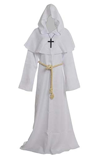 Medieval Renaissance Friar Cowl Robe Hooded Monk Robe Costume White -